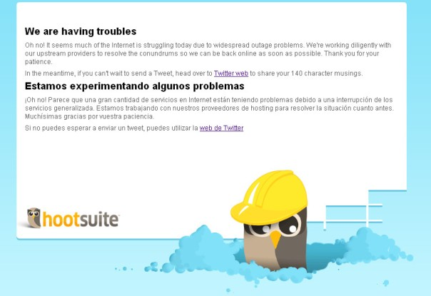 Hootsuite unavailable screen print