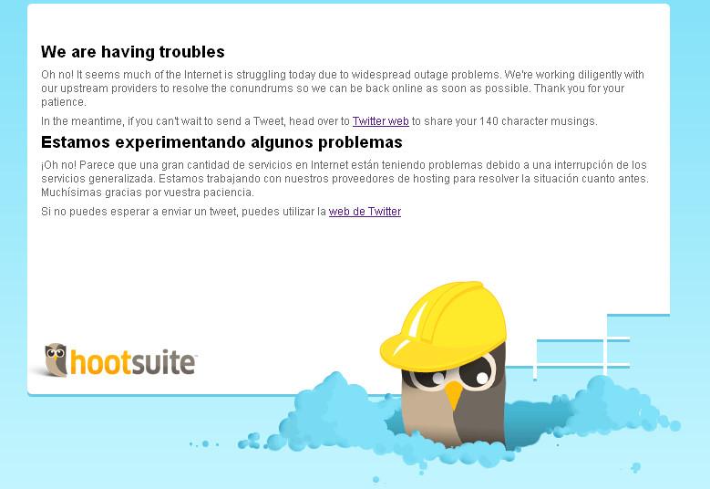 Hootsuite unavailable screen print