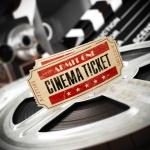 Movie, cinema vintage concept. Tickets on retro film reels and b